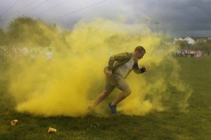 Victor, Steps Youth Cafe, setting the pace at this year's Colour Run