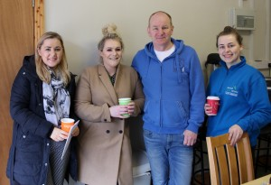(from left) Niamh Kelly, Zoe Gogarty, Ger Curtin & Shelly Goggin at the coffee morning