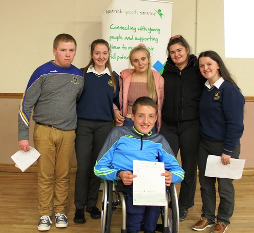 Seán Byrnes with members of BOLD YouthBank